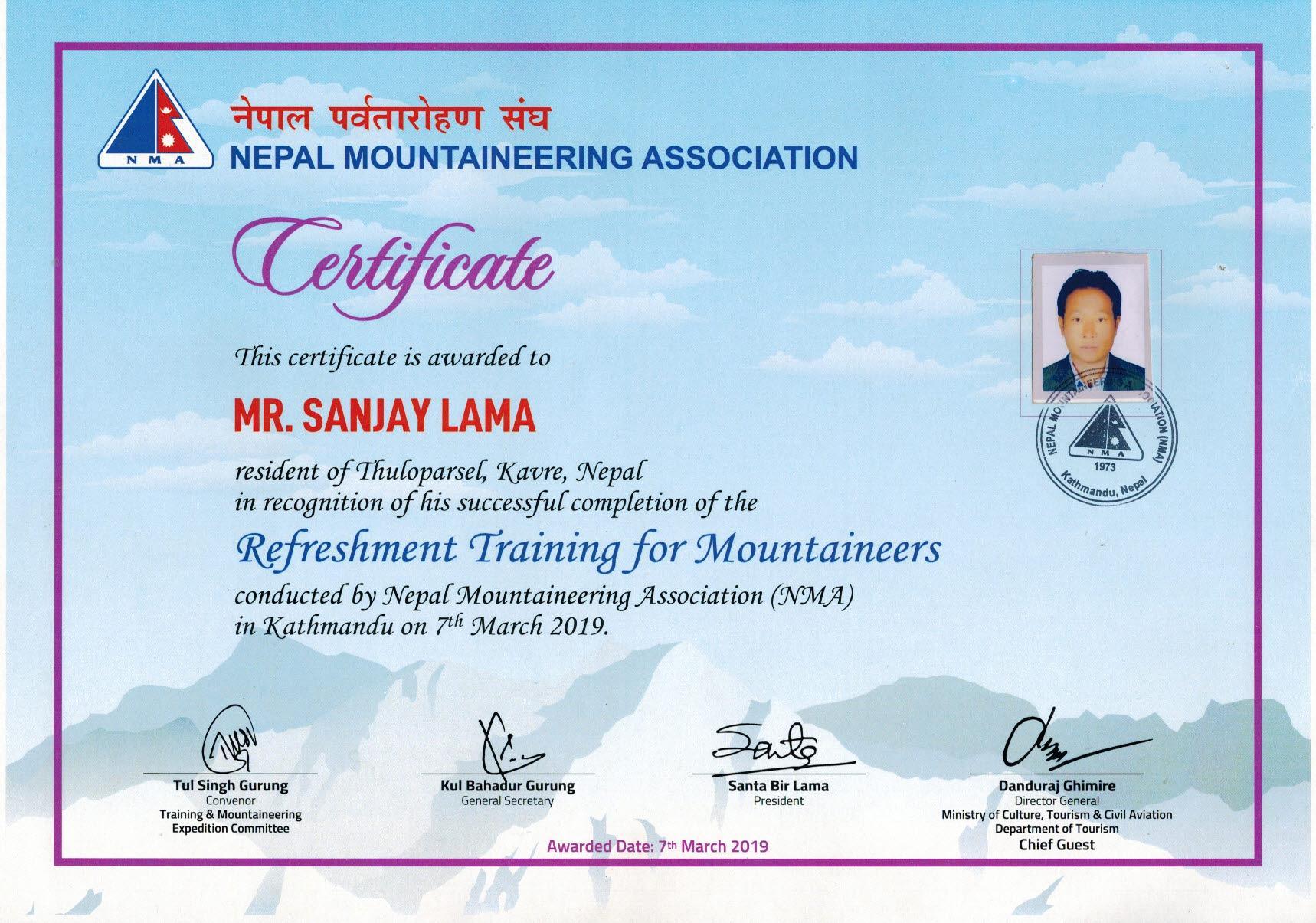 Mountaineering Refeshment Training