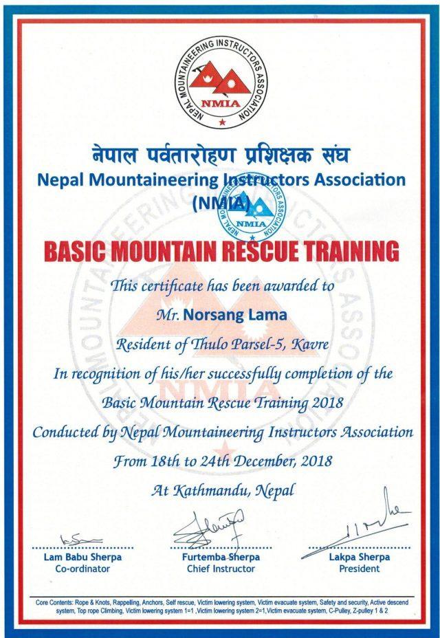 Basic Mountain Rescue training