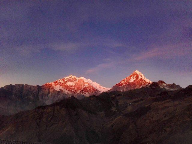 Sunset on Annapurna I & South Annapurna.