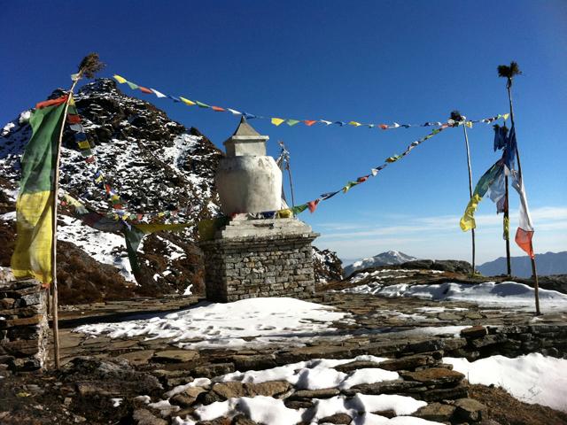 Stupa and prayer flogs