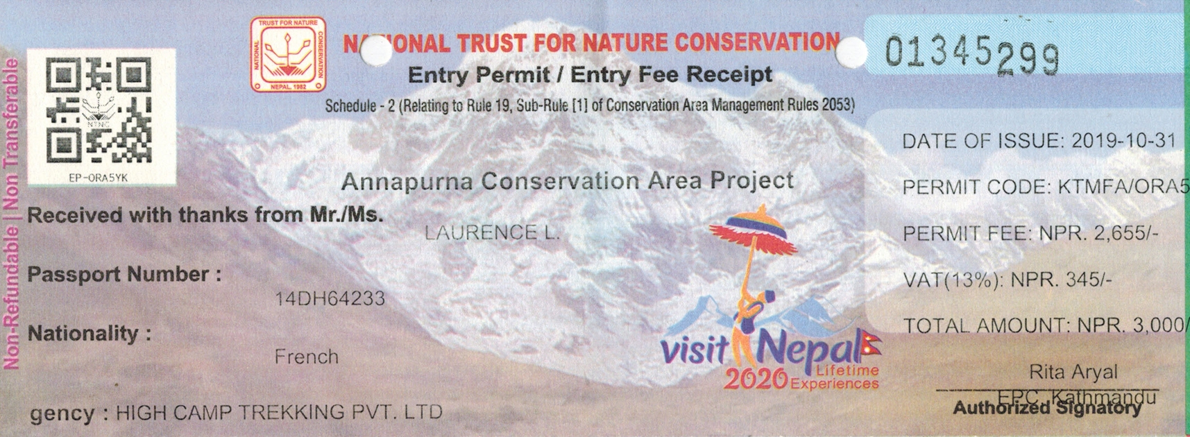 Conservation hiking passes